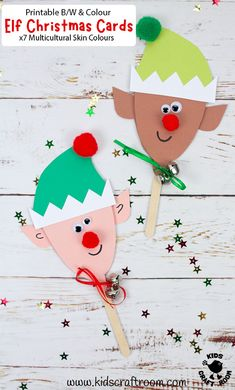 Elf Christmas Card Puppets are so cute and loads of fun! They're easy to make using the printable template which comes in B/W and full colour with x7 multicultural skin colours to choose from. Adorable Elf Christmas Cards and puppet toys in one! A fun Christmas craft for kids. #kidscraftroom #kidscrafts #christmascrafts #christmascards #elf #elf crafts #elves Christmas Crafts For Kids To Make, Christmas Card Crafts, Summer Crafts For Kids, Homemade Christmas Cards, Christmas Elf, Handmade Christmas, Holiday Crafts, Christmas Card Ideas With Kids, Holiday Ideas
