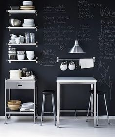 Blackboard wall in kitchen=brilliant