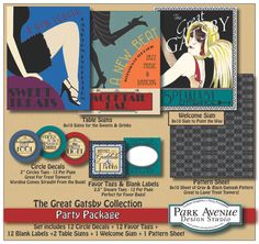 CUSTOM DIY Printable Great Gatsby Roaring 1920's Party Decorations - Buffet / Candy Buffet Labels, Favor Tags and more. $15.00, via Etsy.