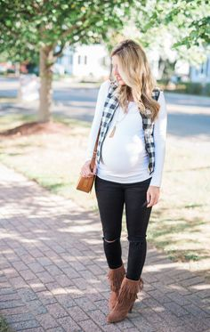 38 weeks checkered vest and maternity denim // Lynzy & Co.