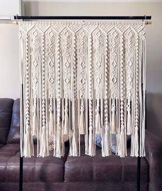 Macrame Curtain/ Large Macrame Wallhanging/ Kitchen Valance/ Wedding Backdrop/ Wallhanging/ Cotton Curtain/ Beige Macrame image 5 This image has get.