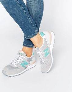 Image 1 of New Balance 996 Sand And Turquoise Suede Trainers