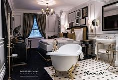 Boheme room 31 at Schlosshotel designed by @Patrick Hellmann Classic hotel room design, luxury hotels, Boutique Hotel Design   #Hospitality #HotelDesign #hotelroom   See more inspirations at https://www.brabbu.com/en/inspiration-and-ideas/category/world-travel/hotel