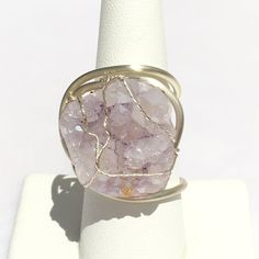 Light lilac quartz crystal geode ring wire by MyWiredJewelry