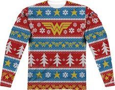 Wonder Woman Ugly Christmas Sweater Print Long Sleeve Tee wonder woman holiday sweater - Woman Knitwear and Sweaters Wonder Woman Movie, Wonder Woman Logo, Ugly Christmas Sweater Women, Ugly Sweater, Xmas Sweaters, Sweater Shirt, Long Sweaters, Sublime Shirt, Holiday Wardrobe