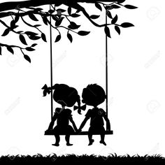 Silhouettes Of A Boy And A Girl Sitting On A Swing Royalty Free Cliparts, Vectors, And Stock Illustration. Pic 27455212.