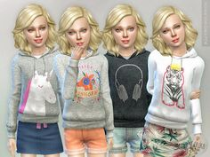 The Sims 4 Hoodie for Girls P04 (Mesh) by lillka Available at The Sims Resource DOWNLOAD Hoodie for Girls P04New item / 4 styles I hope you like it  Hair by Kiara http://mystufforigin.blogspot.pt/Poses by MartyP http://www.thesimsresource.com/artists/MartyP/ Creator Notes Please don't re-upload.Please do not use my textures.Please do not modify my clothes and claim them as your own. Credits: Hair by Kiara http://mystufforigin.blogspot.p...