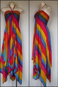 Rainbow Stripped Halter Tie Front Handkerchief Hem Dress Medium