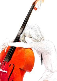 Pretty anime girl leaning on elbows with a cello. Anime Girls, Kawaii Anime Girl, Manga Girl, Anime Manga, Illustrations, Illustration Art, Images Disney, Estilo Anime, Anime Artwork