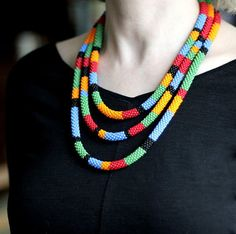 Multi Colored Striped African Style Necklace, Maasai Necklace, Colorful Rope Necklace, Striped Beaded Necklace, African Inspired Necklace