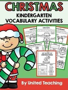 This packet provides three Christmas vocabulary activities for children in kindergarten. The activities are: - Label an elf, Santa, and a reindeer - Christmas word search - My Book of Christmas Words (trace the words, box the words, and color the Christmas picture)