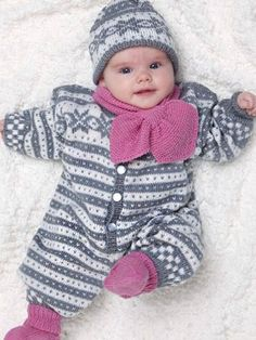Baby Ull Overall, Socks, Hat & Scarf from #1006 (Baby Ull) by  at KnittingFever.com
