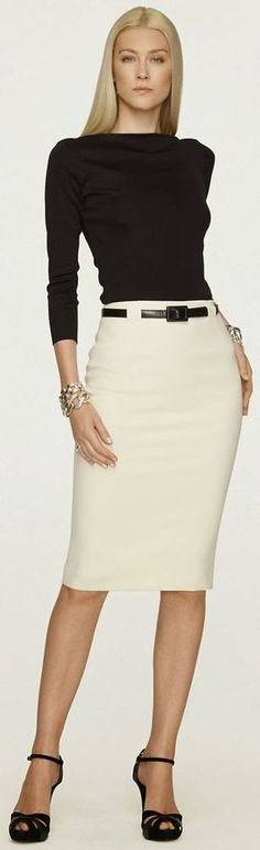 Ralph Lauren Black Label Skirt Fashion Trend cream and black work outfit Office Fashion, Business Fashion, Work Fashion, Skirt Fashion, Business Attire, Fashion Black, Business Chic, Fashion Outfits, Trendy Fashion