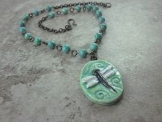 Spring Dragonfly Necklace by skyejewels on Etsy, $32.00