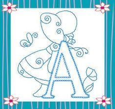 RWSunbonnetAlpha - Free Instant Machine Embroidery Designs