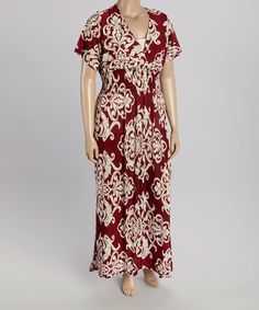Loving this Red Ornate Maxi Dress - Plus on #zulily! #zulilyfinds
