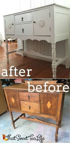 White Painted Buffet Makeover using wood appliques by That Sweet Tea Life   How to add wood appliques to furniture  Round Birch Medallion   How to embellish furniture   How to Paint Furniture   White Furniture   Buffet Before and After   Furniture Before and After