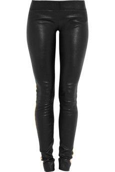 JAY AHR  Contrast-stripe stretch-leather leggings