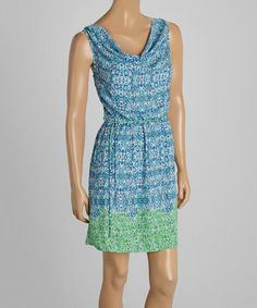 Look what I found on #zulily! Ocean Blue & Leaf Green Ikat Drape Neck Sleeveless Dress by LOVE STITCH #zulilyfinds