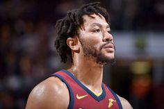 CLEVELAND, OH - NOVEMBER 5: Derrick Rose #1 of the Cleveland Cavaliers looks on during the game against the Atlanta Hawks on November 5, 2017 at Quicken Loans Arena in Cleveland, Ohio. NOTE TO USER: User expressly acknowledges and agrees that, by downloading and or using this Photograph, user is consenting to the terms and conditions of the Getty Images License Agreement. Mandatory Copyright Notice: Copyright 2017 NBAE