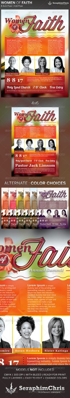 Women of Faith: Church Flyer Template — Photoshop PSD #summit #magazine cover • Available here → https://graphicriver.net/item/women-of-faith-church-flyer-template/5109990?ref=pxcr