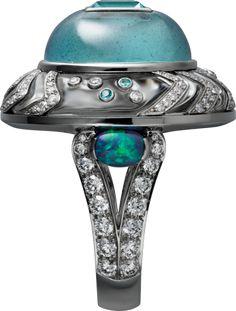 CARTIER HIGH JEWELRY RING Platinum, tourmalines, rock crystal, aquamarine, opals, diamonds