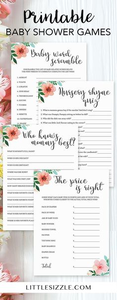Printable baby shower games for a floral themed baby shower by LittleSizzle. Click through to instantly download yours or re-pin for later! Fun and easy game ideas to entertain large groups of guests. Perfect for a gender neutral baby shower or for a spring baby shower. Baby word scramble printable, nursery rhyme quiz printable, who knows mommy best printable and the price is right printable. #babyshowergames #babyshowerideas #floral #girl #genderneutral #printable #babyshowerprintables #DIY