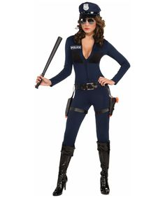 This sexy cop is perfect to lay down the law! Traffic Stopping Cop Women Officer Costume includes a dark navy jumpsuit with a v neck and 'Police' print on the chest. This amazing ...