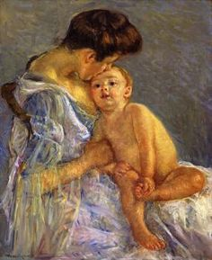 """Motherhood"" (circa 1906), by American artist - Mary Cassatt (1844-1926), Oil on canvas, 81.28 x 65.41 cm. (32 x 25.75 in.), Private collection. *Note: Also known as ""Mother Kissing Her Baby""."