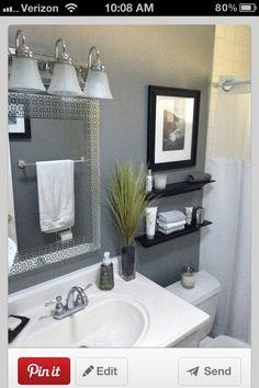Get inspired with these gray bathroom decorating ideas. Restroom ideas, Gray bathroom walls, Half bathroom decor,Grey bathrooms inspiration, Classic grey bathrooms and Images of bathrooms. Small Bathroom Storage, Bathroom Design Small, Bathroom Designs, Bath Design, Basement Bathroom, Master Bathroom, Bathroom Cabinets, Bathroom Gray, Bathroom Faucets