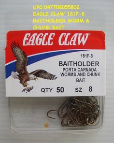 3 packs eagle claw baitholder snells hooks live worms and chunk bait size 1