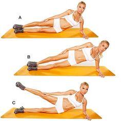 Side-Lying Hip Lift and Leg Lift - Bikini Workout by Tracy Anderson - Health Mobile Couchée sur le côté Hip Lift et Lift Leg Allongez-vous sur côté gauche, les hanches et les pieds empilés. Placez l'avant-bras gauche sur le plancher de soutien et de soutenir le haut du corps vers le haut (A). Ascenseur hanches étage dans une planche de côté (B). Plus bas pour commencer, puis soulever la jambe droite d'environ 3 pieds (C). Retourner au début. Faire 30 reps.