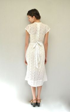 50s Eyelet Dress // White Cotton Dress by VintageUrbanRenewal