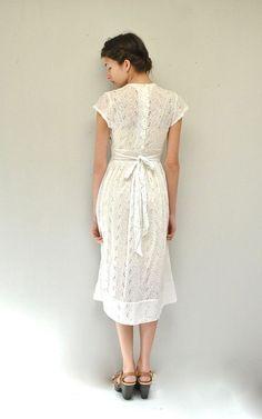 50s Eyelet Dress // White Cotton Dress by VintageUrbanRenewal