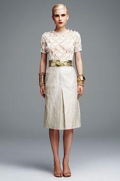Ivory macrame T-shirt, Gold foiled patch pocket skirt, Gold python leather belt.