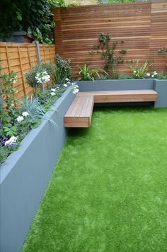 small garden design fake grass low mainteance contempoary design sleek fun london designer balham clapham battersea anewgarden