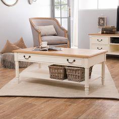 Table basse rectangulaire en bois placage vernis naturel L110cm CLEMENCE