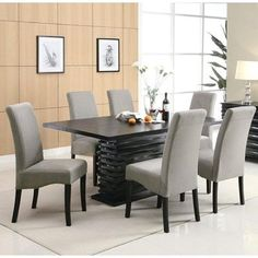 Infini Furnishings Jordan 7 Piece Dining Set Upholstery: Light Gray