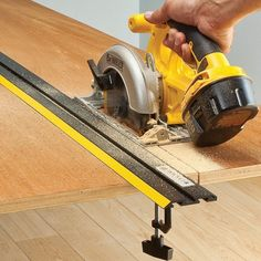 Power tool guide (one included with system) rides in the straight edge for total control when cutting or routing.