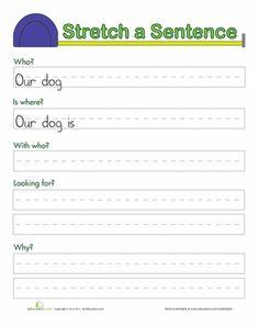 First Grade Writing Sentences Worksheets: Stretching Sentences