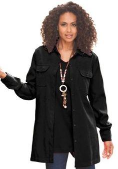 Roamans Plus Size Stretch Moleskin Bigshirt (Black,1X) Roamans. $27.49