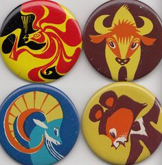 Set of 4 retro animal brooches/ badges/ button / pins by RETROisIN