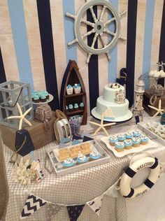 15 Trendy Baby Shower Decorations For Boys Nautical Food Tables Sailor Baby Showers, Beach Baby Showers, Sailor Theme Baby Shower, Nautical Theme Baby Shower, Nautical Baby Shower Decorations, Nautical Decor Party, Nautical Backdrop, Nautical Baptism, Nautical Wedding