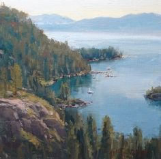 Emerald Bay by Kathleen Dunphy Oil ~ 12 x 12 - landscape painting