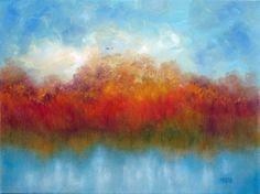Autumn Pond, Original Landscape Oil Painting by Marina Petro, painting by artist Marina Petro
