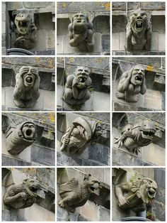 Have a look: is here one that reminds a more famous character that probably has been copied by H.R. Giger...THE GARGOYLES OF PAISLEY ABBEY 11century - Scotland