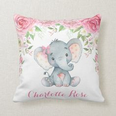 Shop Elephant Pink Floral Roses Baby Girl Nursery Decor Throw Pillow created by BlueBunnyStudio. Personalize it with photos & text or purchase as is! Elephant Nursery Decor, Elephant Pillow, Baby Girl Nursery Decor, Nursery Room Decor, Baby Decor, Baby Room, Nursery Ideas, Elephant Baby, Rose Nursery