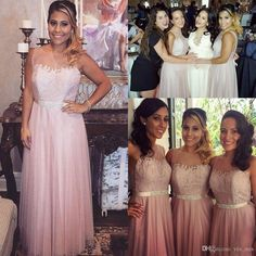 New Bridesmaid Dresses 2016 Long For Weddings Jewel Neck Illusion Lace Appliques Beaded Sashes Plus Size Maid of Honor Wedding Guest Gowns Online with $92.47/Piece on Yes_mrs's Store | DHgate.com