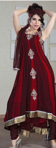 $168.91 Red and Burgundy Faux Georgette Anarkali Suit 16630