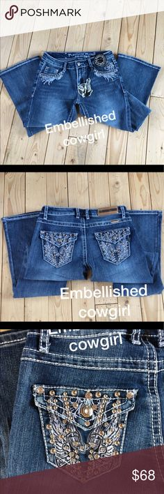 Embellished cowgirl boot cut jeans Embellished bling boot cut jeans standard length 32/33 fits true junior sizes and junior plus. Jeans Boot Cut